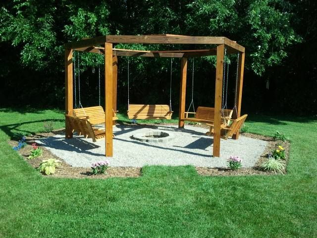 backyard swings and fire pit