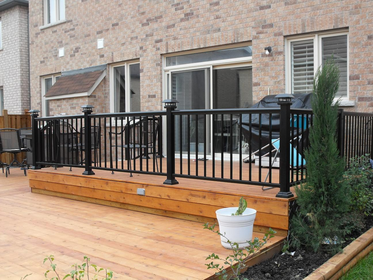 Brown Metal Deck Railing