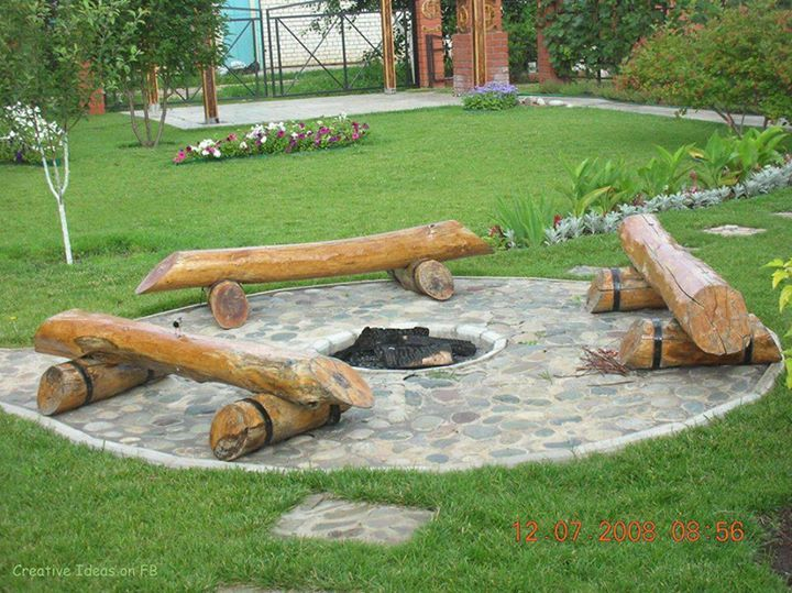 build fire pit seating area  photo - 2