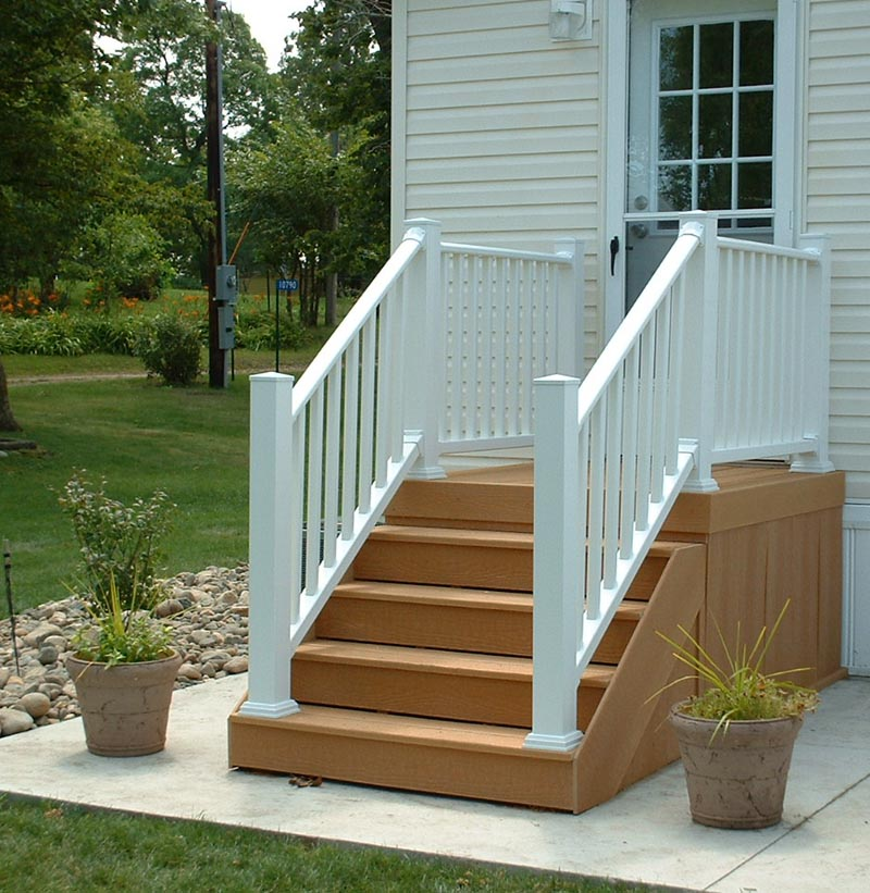 Building deck stairs with composite design and ideas for Building a composite deck