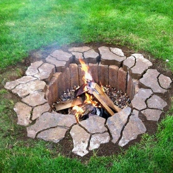 built in ground fire pit  photo - 1