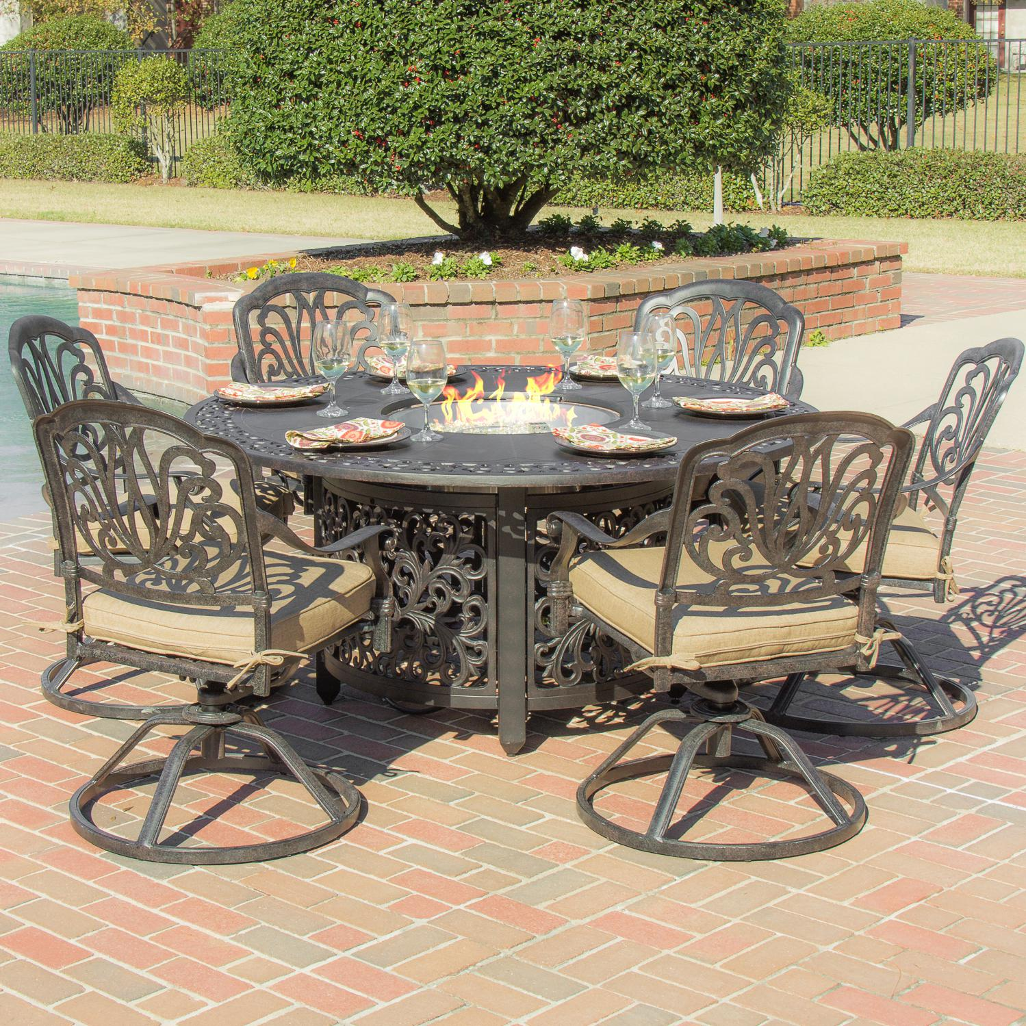 cast aluminum fire pit patio table set Design and Ideas