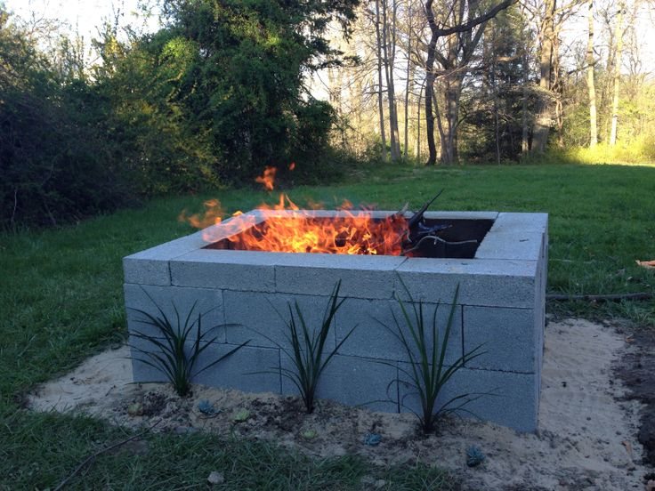Cinder Block Fire Pit for Outdoor