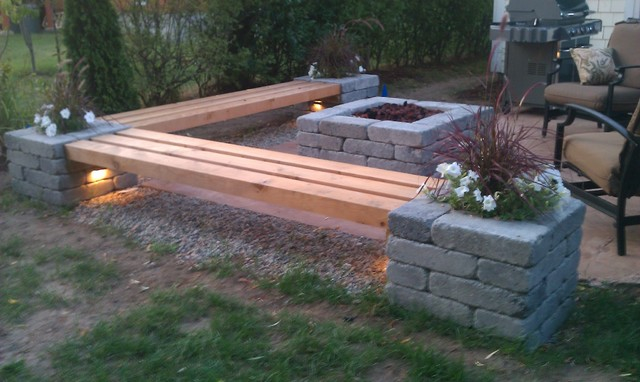 diy fire pit and bench