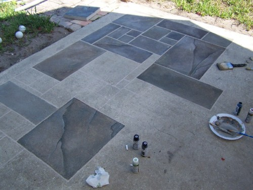 faux painting a concrete patio