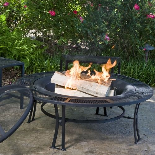 fire pit and bench set