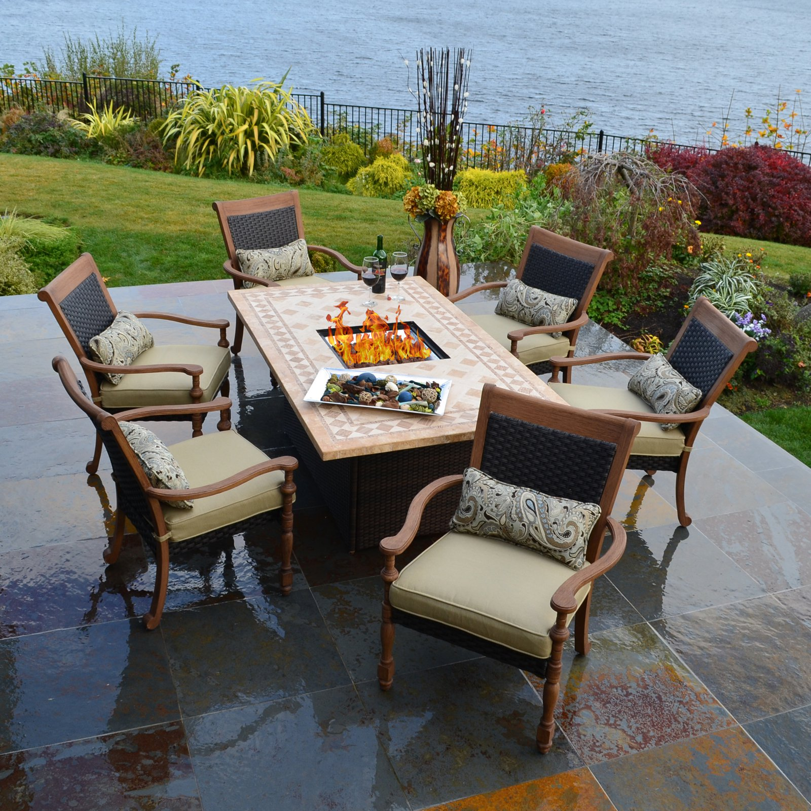 Captivating Fire Pit Dining Table Set