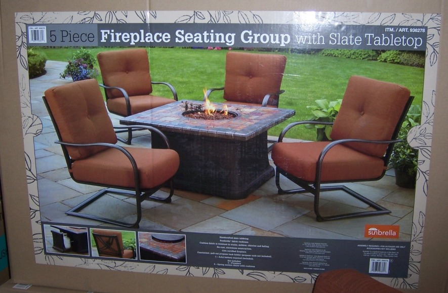 fire pit table and chairs set costco