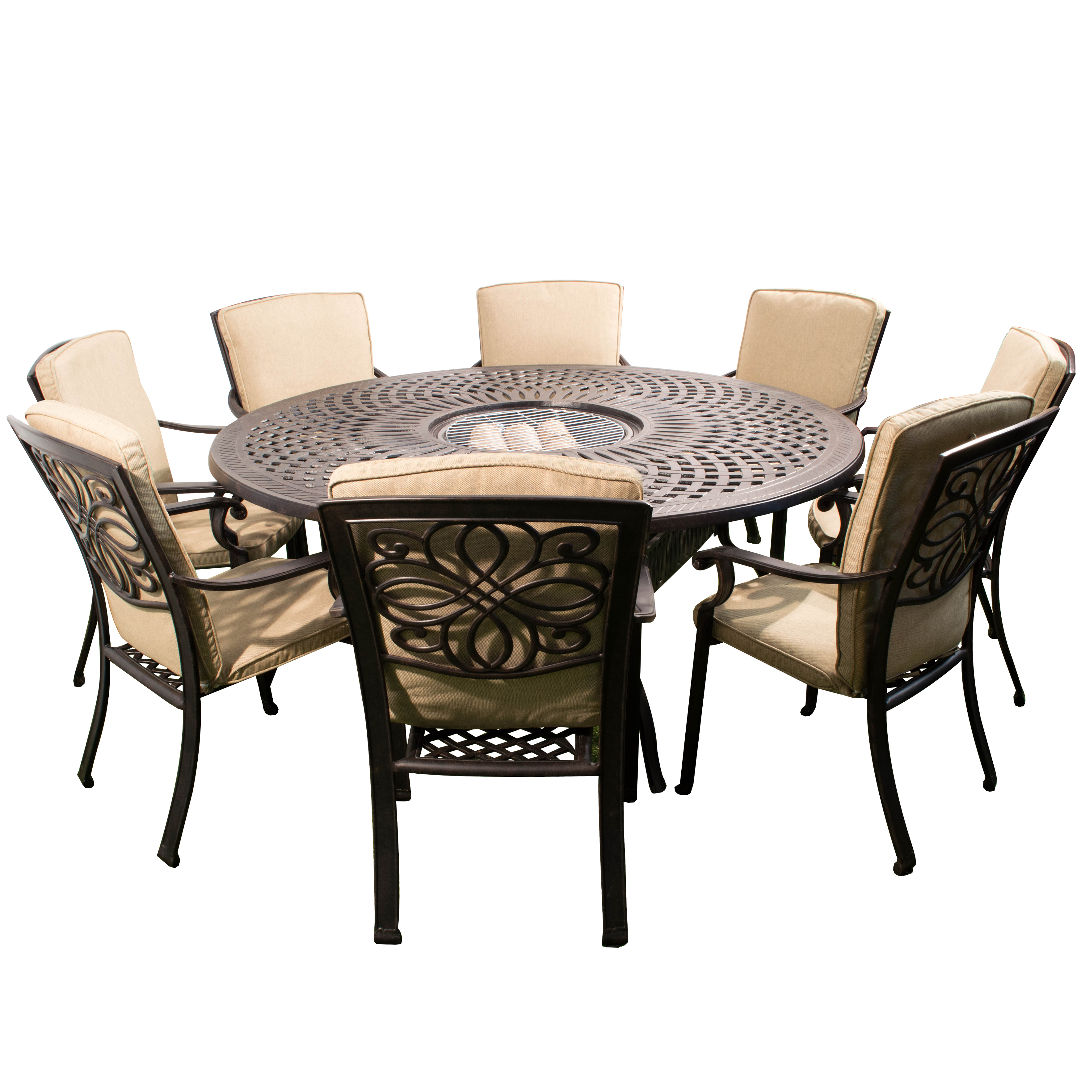 Fire Pit Dining TableDarlee Cast Aluminum 7 Piece Round