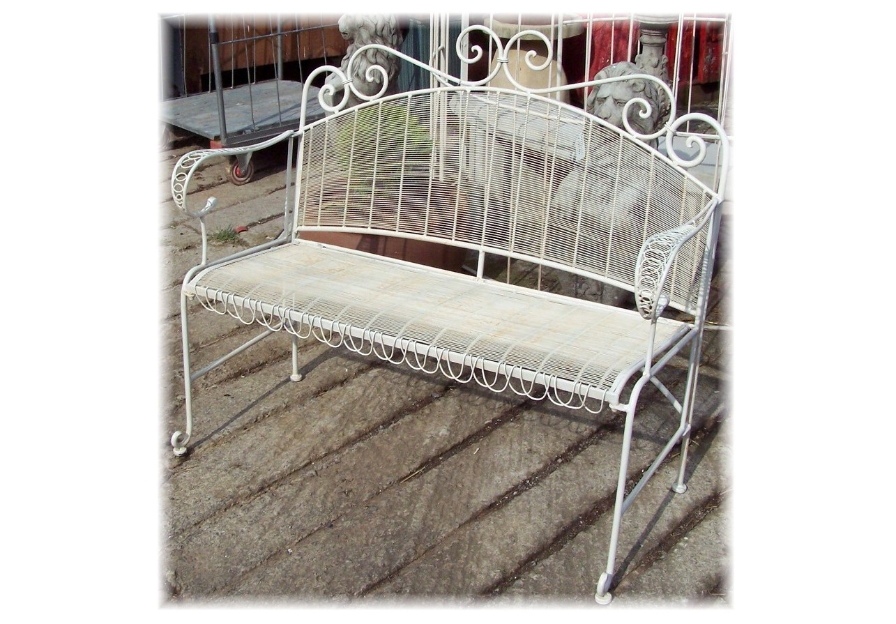 Garden Accessories White Wire Bench