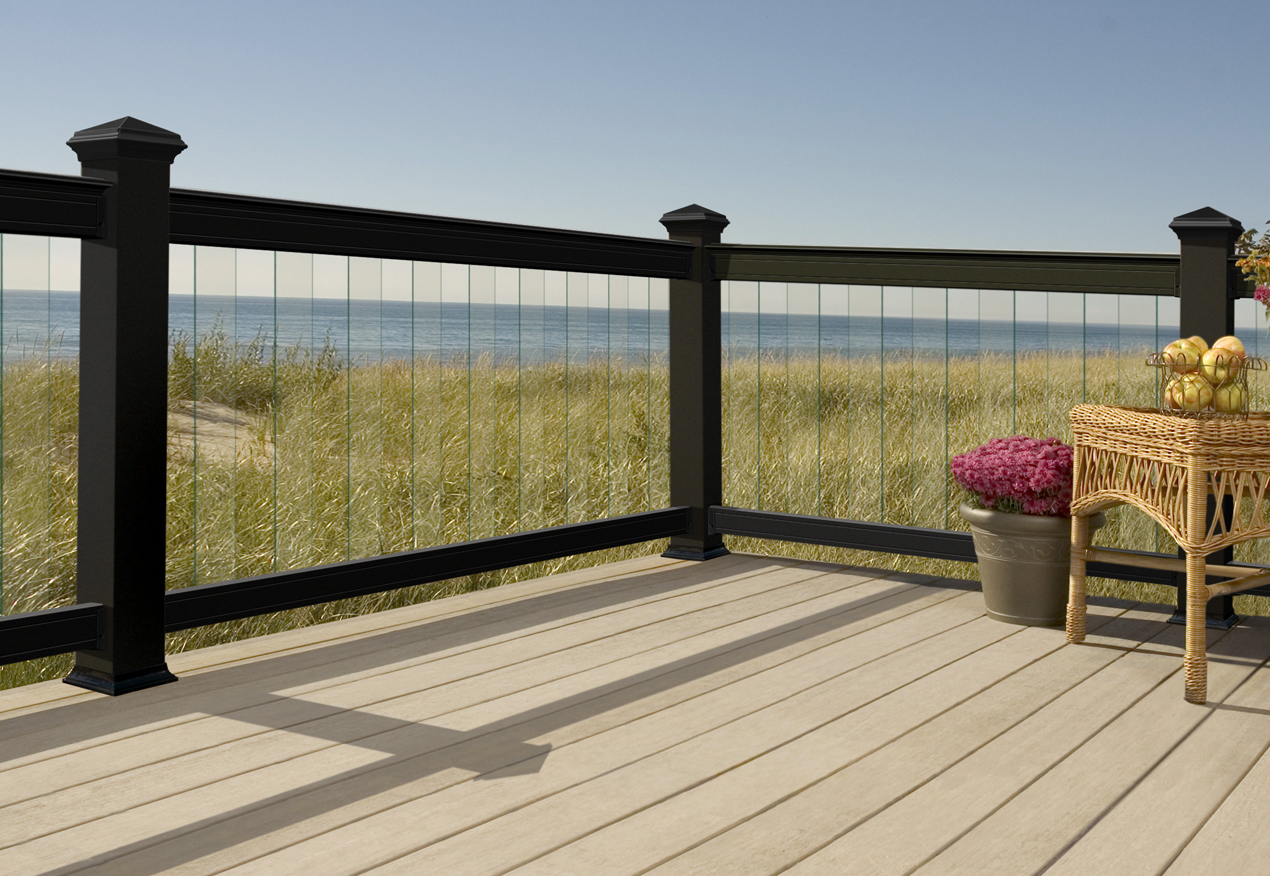 glass and metal deck railing