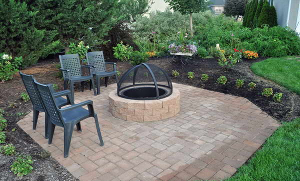 in ground fire pit with seating  photo - 2