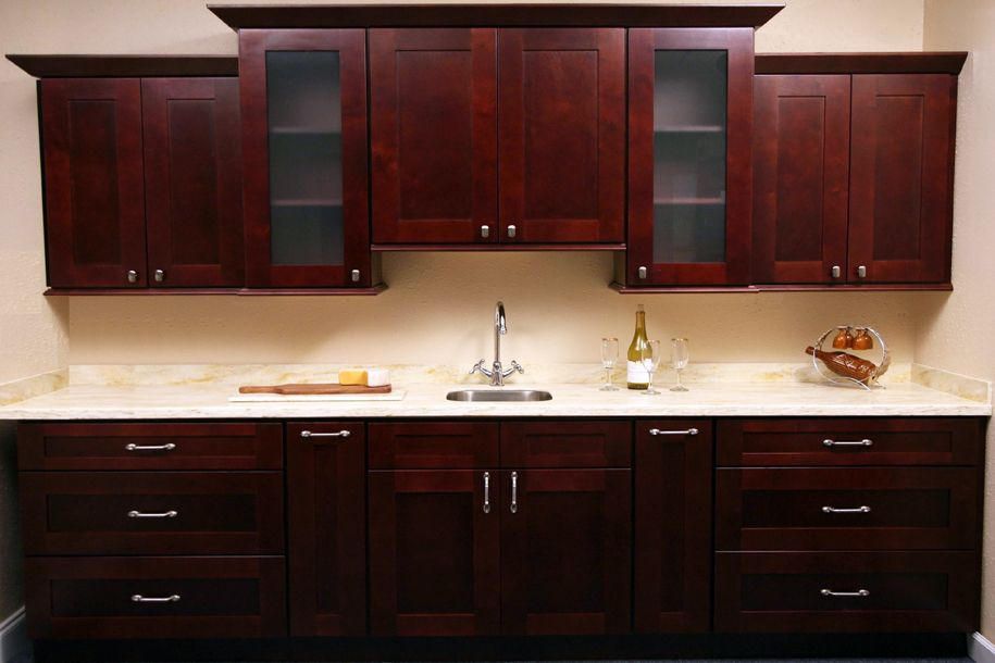 Glazed birch kitchen cabinets