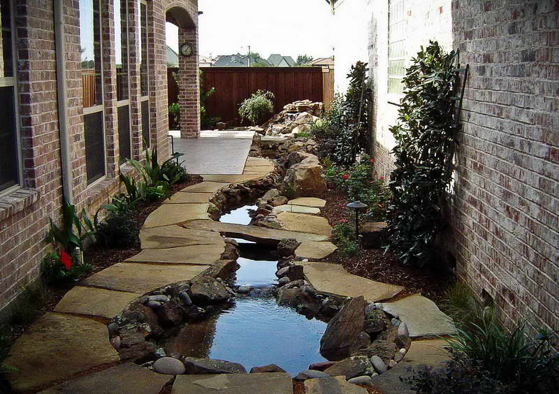 landscaping with rocks and bricks