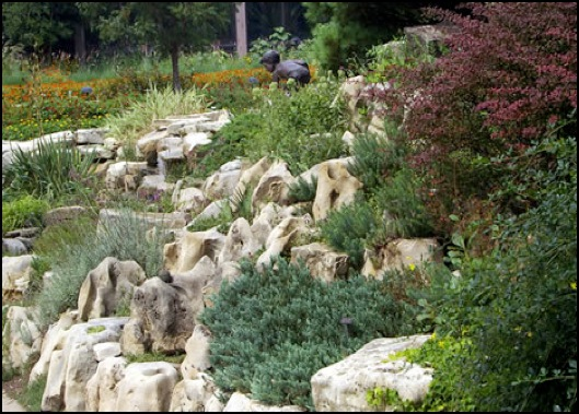 landscaping with rocks on slopes
