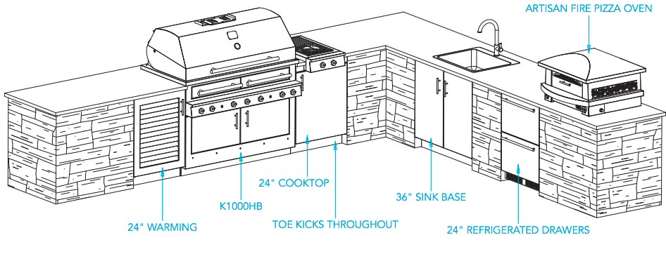 Outdoor kitchen designs the aspen design and ideas for Outdoor kitchen cad drawings
