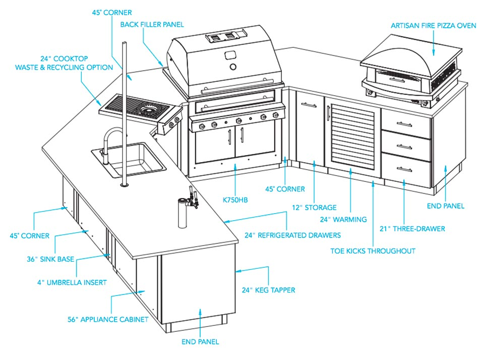 Outdoor Kitchen The Oasis Refrigerated Drawers