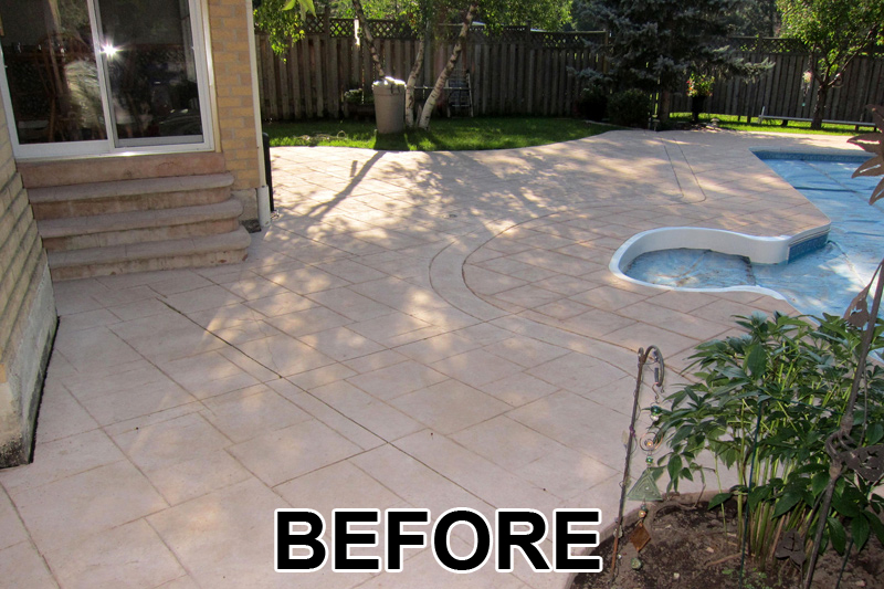 painting concrete patio before and after