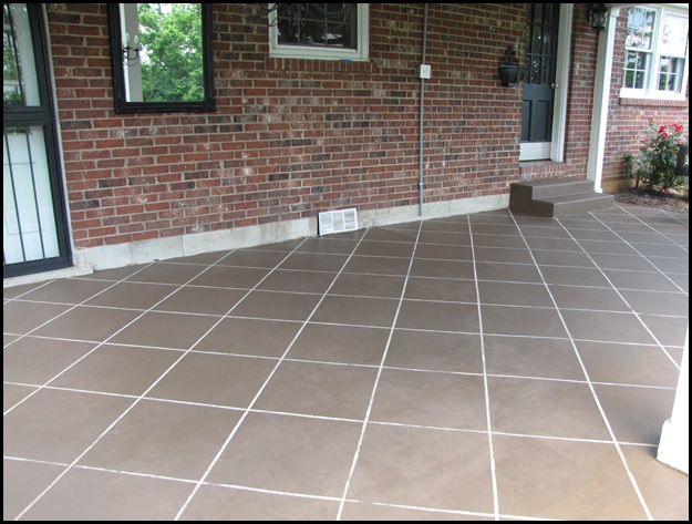 painting concrete patio to look like tile  photo - 1