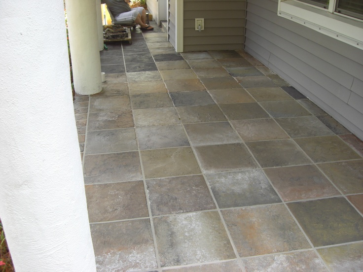 painting concrete patio to look like tile  photo - 2