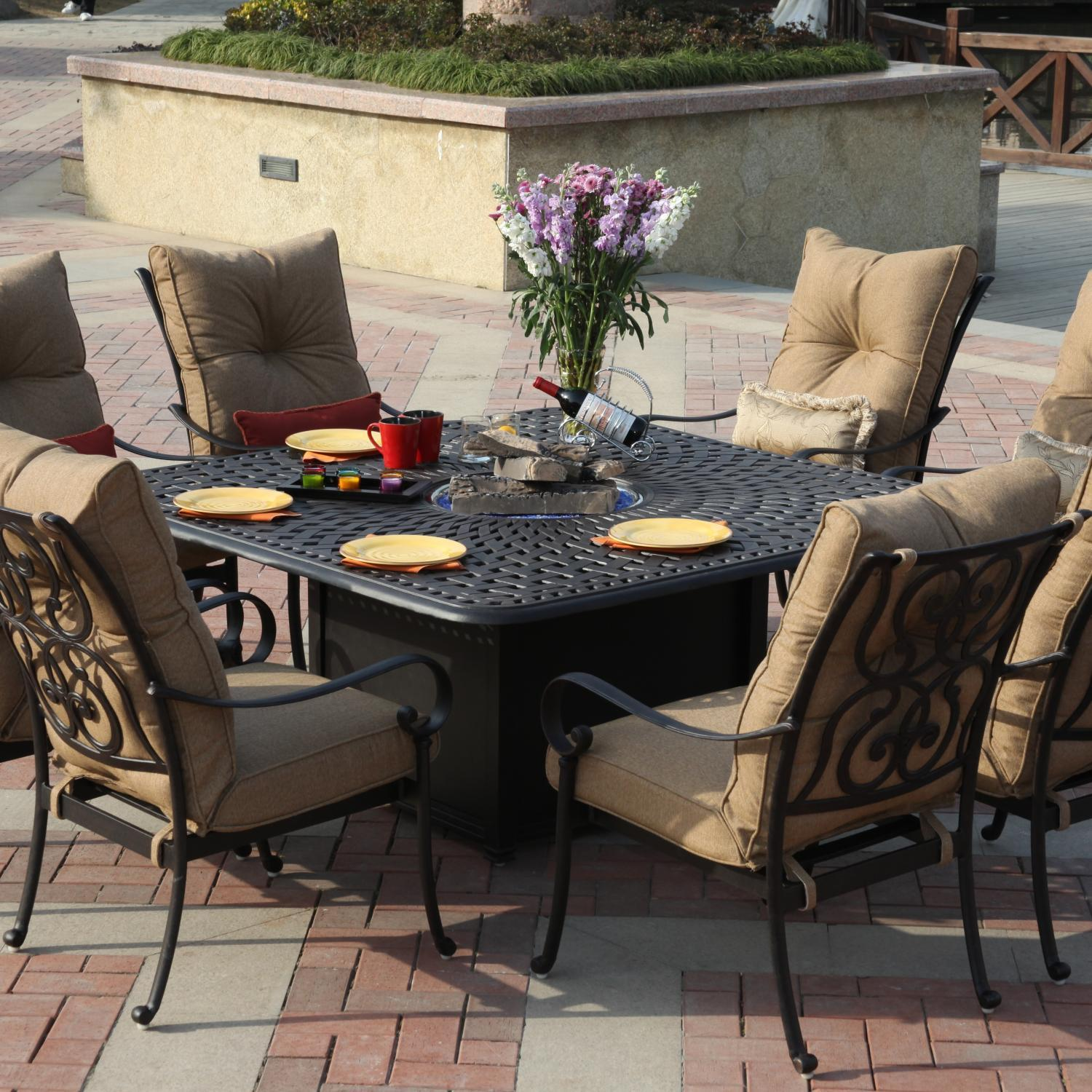 Patio Fire Pit Dining Set Photo   2
