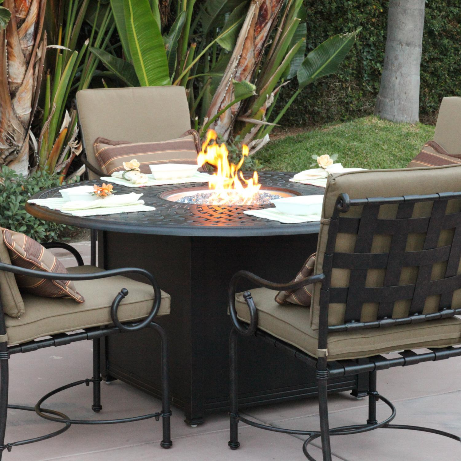 patio fire pit dining table