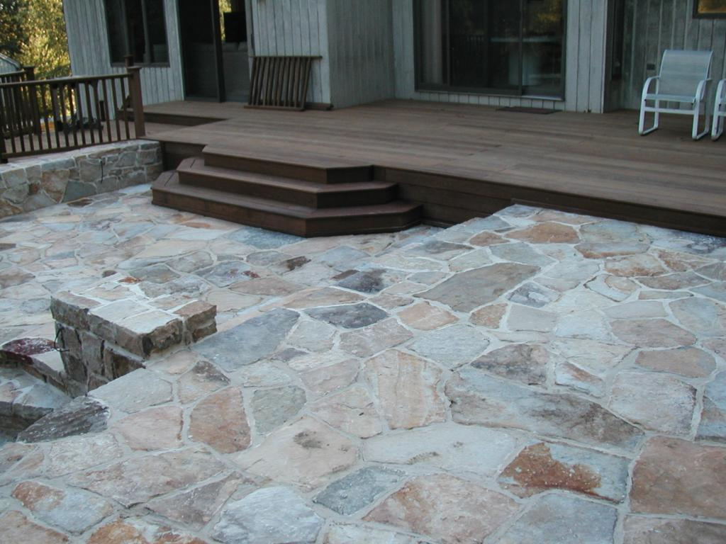 Blue stone patio grout design and ideas for Pictures of stone patios