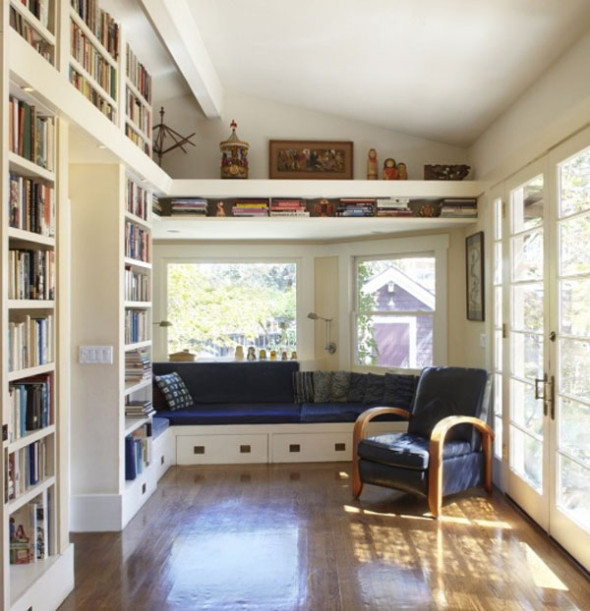 Private Library Design Ideas Deep Blue Library