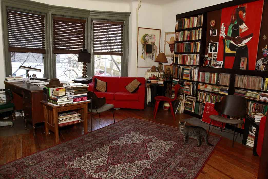 Private Library Design Ideas Red Accent