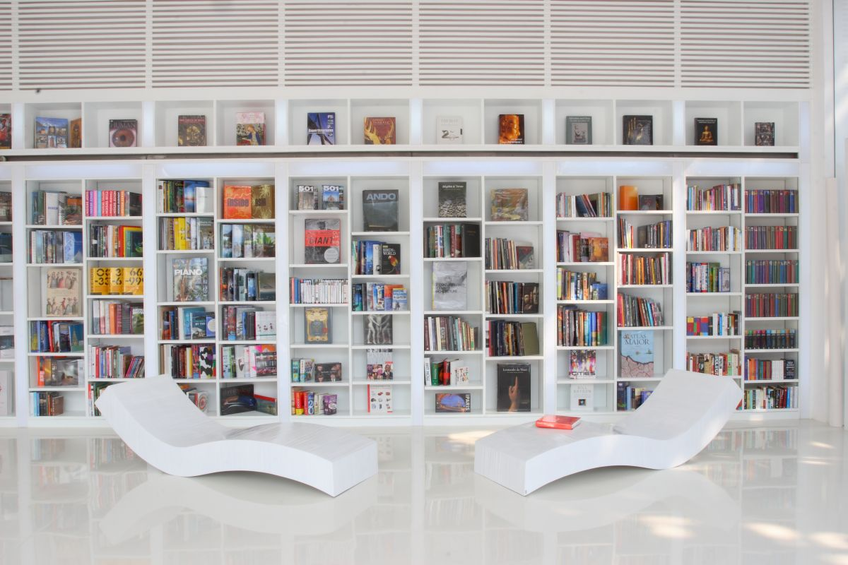 Private Library Style Contemporary White Library