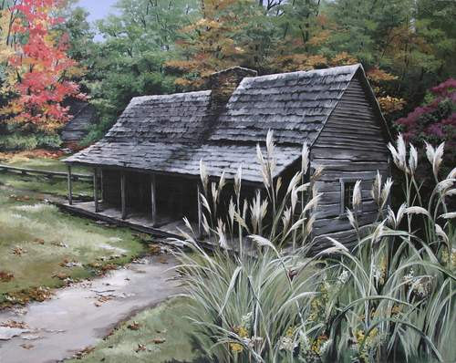 Rustic Log Cabin Art  photo - 3