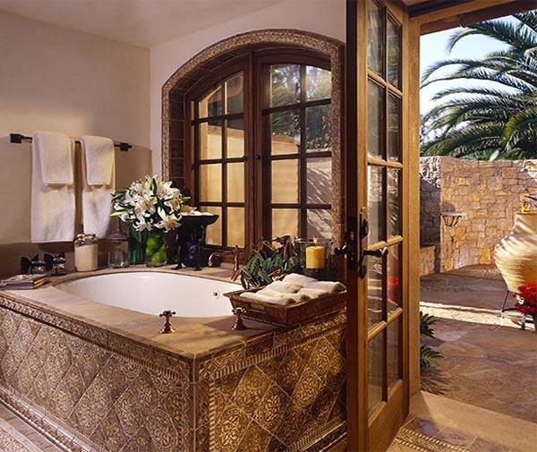 Spa Bathroom Design Ideas Deep Color » Design and Ideas on modern tuscan farmhouse sinks, modern tuscan garden design, modern tuscan house designs, modern bathrooms with large windows,