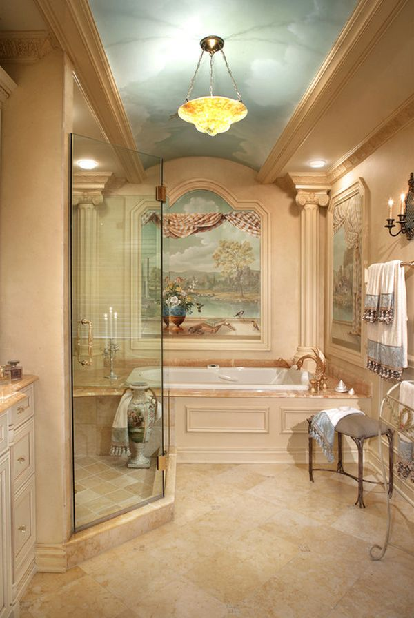 Spa Bathroom Design Ideas Floral Mural