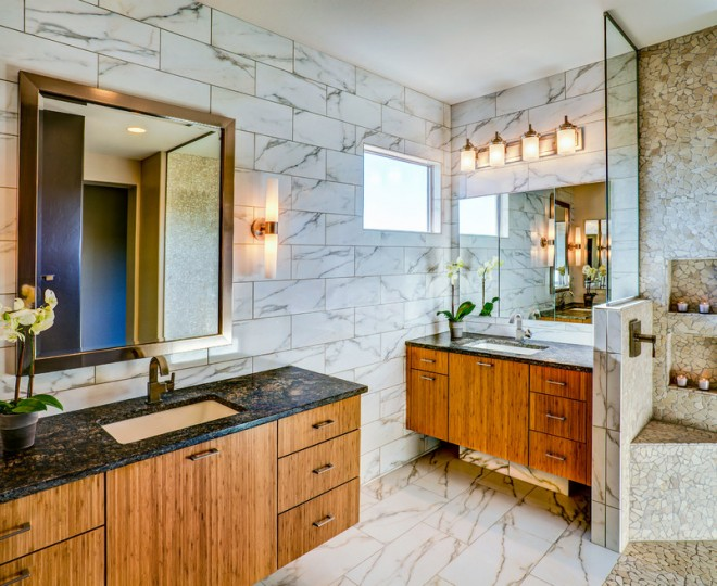 Spa Bathroom Design Ideas Framed Sconces photo - 2