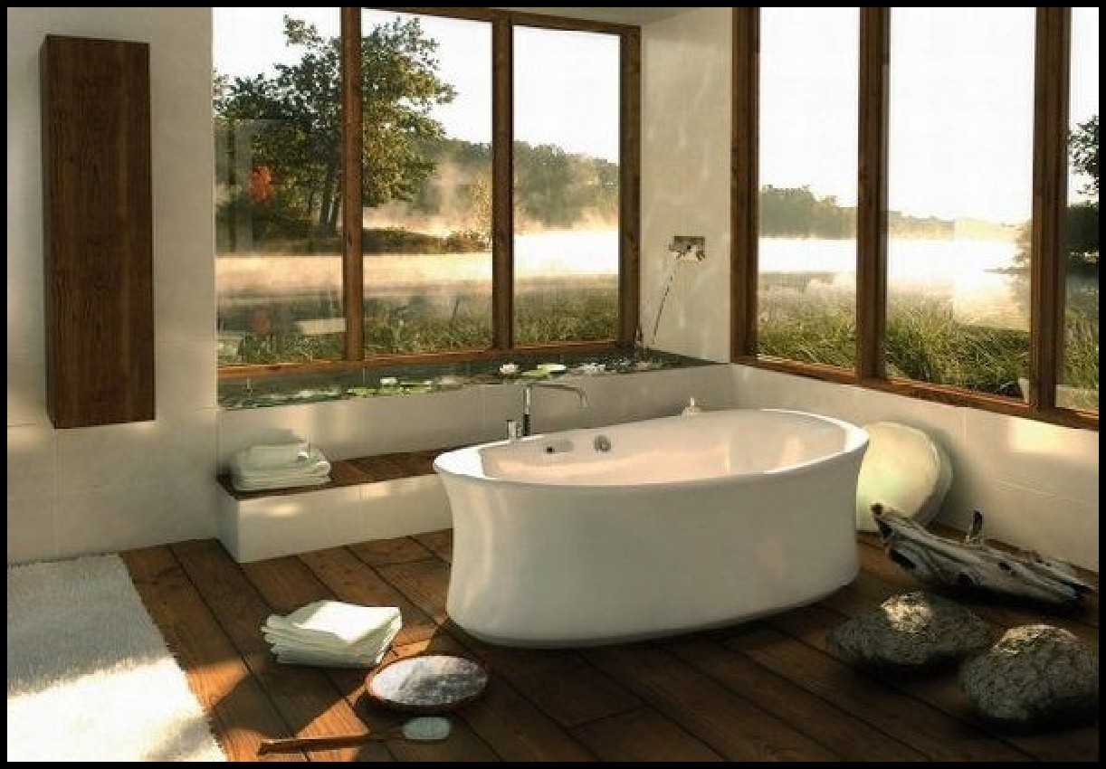 Spa Bathroom Design Ideas Tub With a view photo - 1