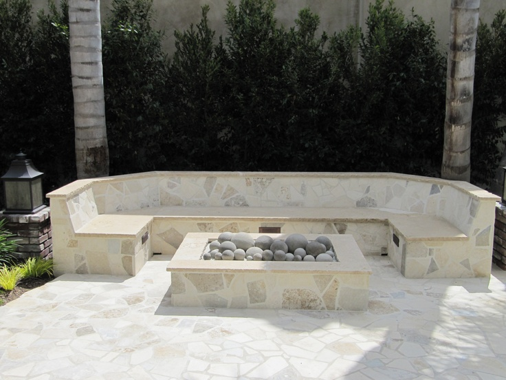stone fire pit and benches  photo - 2