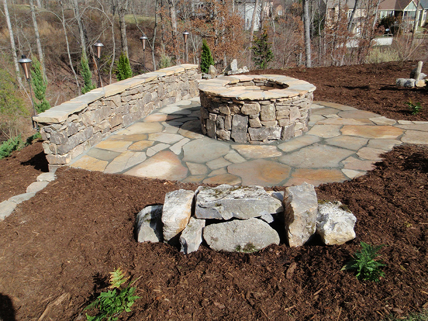 stone fire pit and benches Design and Ideas