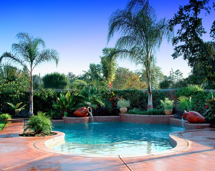 Tropical landscaping ideas around pool design and ideas for Garden designs around pools