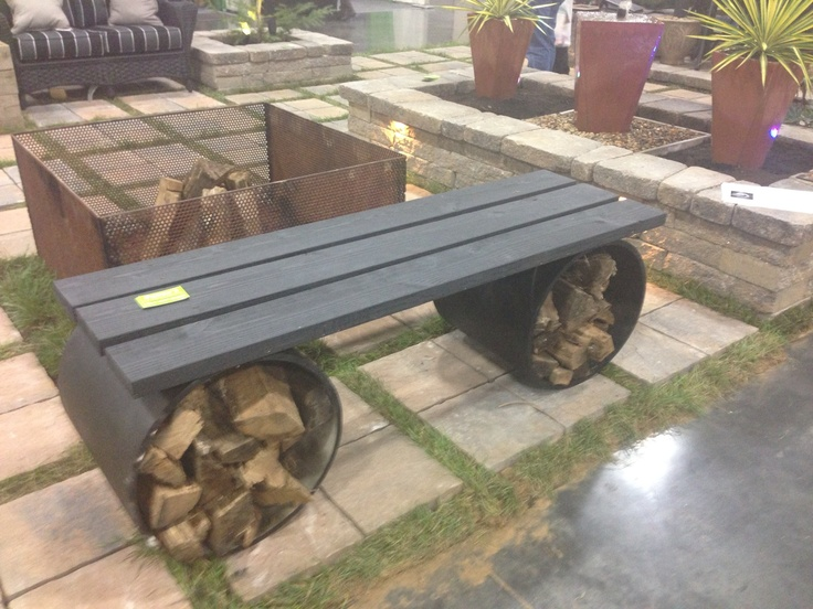 wood fire pit benches Design and Ideas